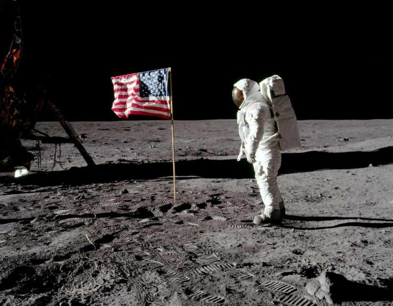 American Flag Astronaut on Moon