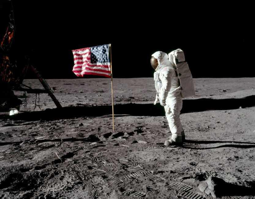 American Flag Astronaut on Moon